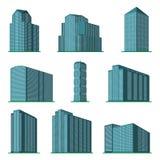 Satz modernes hohes Gebäude neun auf einem weißen Hintergrund Lizenzfreies Stockbild