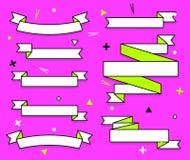 Satz modische flache geometrische Vektorbänder Klare transparente Fahnen im Retro- Plakat entwerfen Art Weinlesefarben und lizenzfreie abbildung