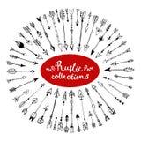 Satz modische gezeichnete Pfeile des Hippies Hand Rustikale dekorative Pfeile Lizenzfreies Stockbild