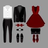 Satz modische Kleidung Ausstattung des Mannes und der Frauenkleidung und des -Zubehörs Stockfoto