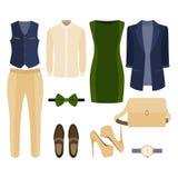 Satz modische Kleidung Ausstattung des Mannes und der Frauenkleidung und des -Zubehörs Stockbilder