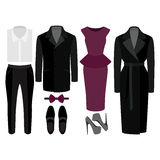 Satz modische Kleidung Ausstattung des Mannes und der Frauenkleidung und des -Zubehörs Stockfotografie