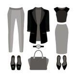 Satz modische Kleidung der Frauen Ausstattung der Frauenjacke, Schlüpfer, Lizenzfreies Stockfoto