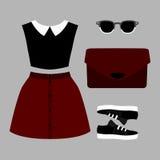 Satz modische Kleidung der Frauen Ausstattung des Frauenrockes, Bluse und Stockfotografie