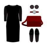 Satz modische Kleidung der Frauen Ausstattung von Frau Kleid und accesso Lizenzfreies Stockbild