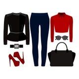 Satz modische Kleidung der Frauen Ausstattung von Frauenjeans, Rocker jac Lizenzfreies Stockfoto