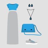 Satz modische Kleidung der Frauen mit grauem Rock, blaue Spitze Stockfoto