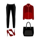 Satz modische Kleidung der Frauen mit Hose, Bluse Stockbild