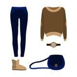 Satz modische Kleidung der Frauen mit Jeans, Pullover Lizenzfreies Stockfoto