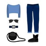 Satz modische Kleidung der Frauen mit Jeans, Pullover Stockbild