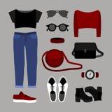Satz modische Kleidung der Frauen mit Jeans, Spitze, Pullover Stockfoto