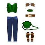 Satz modische Kleidung der Frauen mit Jeans, Spitze und Zubehör Lizenzfreies Stockbild