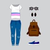 Satz modische Kleidung der Frauen mit Jeans, T-Shirt Lizenzfreie Stockbilder