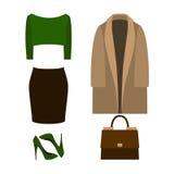 Satz modische Kleidung der Frauen mit Mantel, Pullover Lizenzfreie Stockfotos