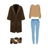 Satz modische Kleidung der Frauen mit Mantel, Pullover, Jeans und Buh Lizenzfreie Stockfotografie
