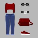 Satz modische Kleidung der Frauen mit rotem Pullover Stockfotos