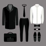 Satz modische Kleidung der Männer Ausstattung des Mannmantels, Hosen, Hemd a Lizenzfreie Stockbilder