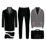 Satz modische Kleidung der Männer Ausstattung des Mannmantels, -wolljacke, -hosen und -Zubehörs Garderobe der Männer Lizenzfreie Stockfotos