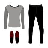 Satz modische Kleidung der Männer des Entwurfs mit Hosen, Pullover Stockfotos