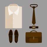 Satz modische Kleidung der Männer mit beige Hemd und Zubehör Lizenzfreie Stockbilder