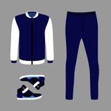 Satz modische Kleidung der Männer mit Blue Jeans, Windjacke Stockbilder