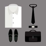 Satz modische Kleidung der Männer mit Hemd und Zubehör Lizenzfreie Stockfotos