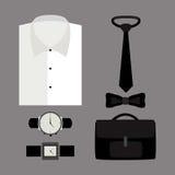 Satz modische Kleidung der Männer mit Hemd und Zubehör Lizenzfreie Stockbilder