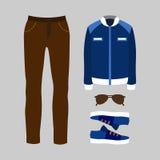 Satz modische Kleidung der Männer mit Hosen Lizenzfreie Stockbilder