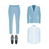 Satz modische Kleidung der Männer mit Hosen, Hemd, Jacke und Müßiggänger Stockfotos
