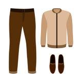 Satz modische Kleidung der Männer mit Hosen, Jacke und Mokassinen Stockfoto