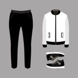 Satz modische Kleidung der Männer mit Hosen, Jacke und Turnschuhen Stockbild