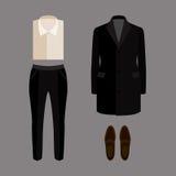 Satz modische Kleidung der Männer mit Hosen, Mantel, Hemd und Müßiggängern Lizenzfreie Stockfotografie
