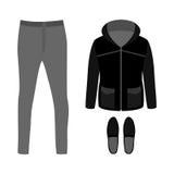Satz modische Kleidung der Männer mit Parka, Hosen und Mokassinen Stockbild