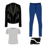 Satz modische Kleidung der Männer mit Rockerjacke, T-Shirt, Jeans Lizenzfreie Stockbilder