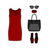 Satz modische Kleidung des Mädchens mit Kleid und Zubehör Stockbilder