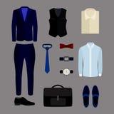Satz modische Kleidung und Zubehör der Männer Garderobe der Männer Lizenzfreie Stockfotos