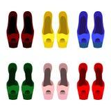 Satz modische Schuhe der Frauen Stockfoto