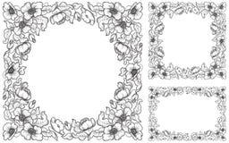 Satz Mohnblumengrenzen Stockbilder