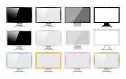 Satz Monitoren gemacht in den verschiedenen Arten: Realistische, flache, lineare Ikone, bunt Vektorillustration von 12 PC-Schirme Lizenzfreie Stockfotografie