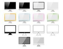 Satz Monitoren gemacht in den verschiedenen Arten: Realistische, flache, lineare Ikone, bunt Vektorillustration von 14 PC-Schirme Lizenzfreie Stockfotografie