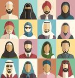 Satz moslemische islamische Leute stellt Avatara-Charakter-Ikonen gegenüber Lizenzfreie Stockfotografie