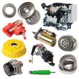 Satz Motor und wenige Automobilteile stockfoto