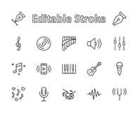Satz Musik-der in Verbindung stehenden Vektor-Linie Ikonen Enthält solche Ikonen wie Pan Flute, Klavier, Gitarre, Violinschlüssel vektor abbildung