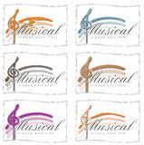 Satz Musik-Logos für Karten oder Ikonen Stockbild