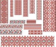Satz Muster für Stickerei-Stich Rot und Schwarzes Stockbilder