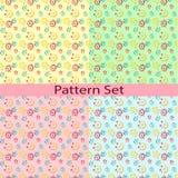 Satz Muster mit den Rouletten und den Punkten Stockfoto