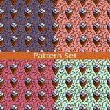 Satz Muster mit Eiscreme Stockfotos