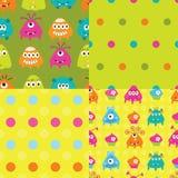 Satz Muster mit Monstern Lizenzfreie Stockbilder