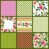 Satz Muster und mit Blumennahtloses mit Rosen Lizenzfreies Stockfoto