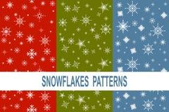 Satz Musters mit drei des unterschiedlichen Schneeflocken stock abbildung